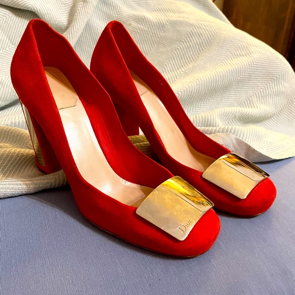 100% authentic DIOR red heels with mirror accents